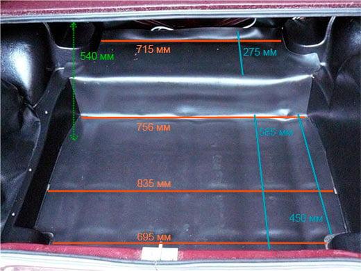 размер багажника ваз 2107 классика